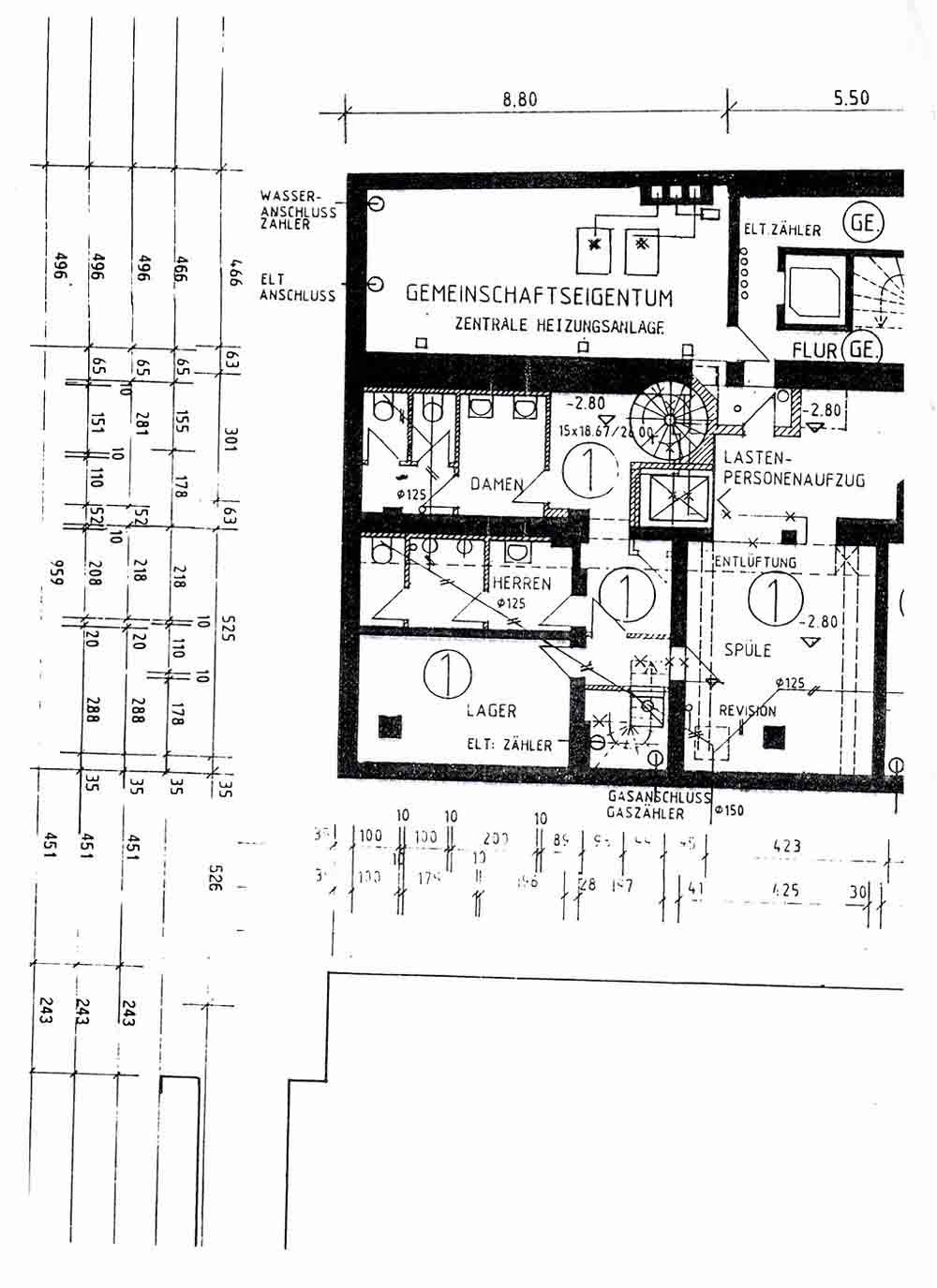LUBIG Immobilien - Expose 03 - Gastronomie Theaterplatz Grundriss UG